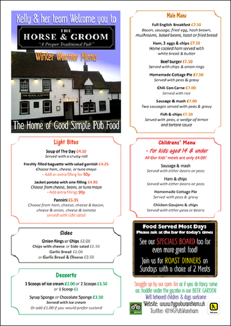 Horse & Groom Winter Warmer Menu
